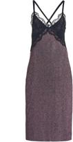 Christopher Kane Lace-Trimmed Crystal Mesh Midi Dress