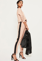 Missguided Pink Satin Side Stripe Elastic Waist Cigarette Trousers