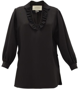 Gucci Buckle-neck Ruffled Faille Blouse - Womens - Black