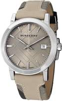 Burberry Men's BU9021 Large Check Leather on Canvas Strap Beige Dial Watch