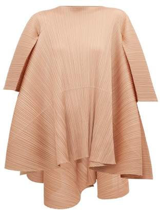 Pleats Please Issey Miyake Petal Tie Back Pleated T Shirt - Womens - Beige