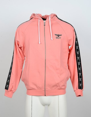 Boy London Salmon Pink Cotton Zip Front Hoodie