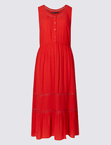 M&S Collection Lace Trim Tiered Shift Midi Dress