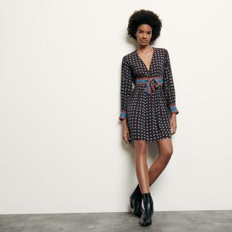 Sandro Printed short silk dress