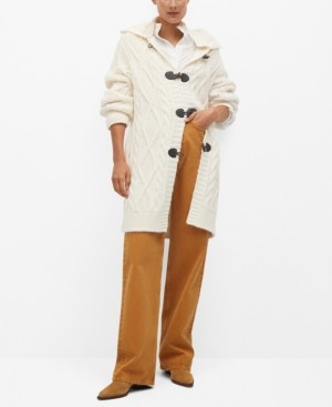 MANGO Women's Hooded Knitted Coat