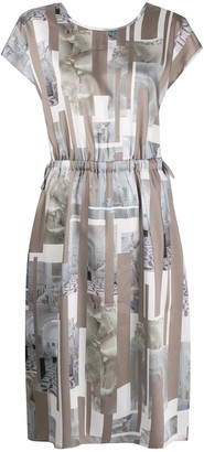 Peserico Statue Print Midi Dress