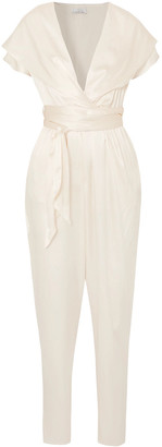 Miguelina Gigi Belted Silk-charmeuse Hooded Jumpsuit