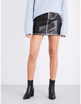 Frame Ladies Black Round Classic Studded-Detail Leather Mini Skirt