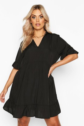 boohoo Plus Shirt Ruffle Smock Dress