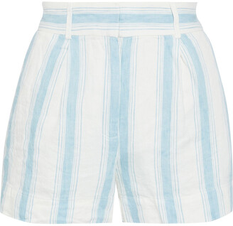 Frame Pleated Striped Linen Shorts