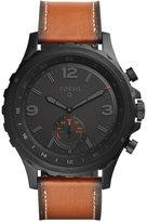 Fossil Q Men's Nate Hybrid Dark Brown Leather Strap Smart Watch 50mm FTW1114
