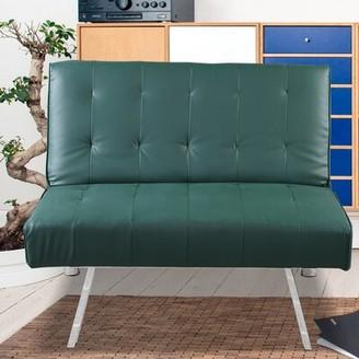 "Latitude Run Edona 34.3"" W Tufted Faux Leather Convertible Chair Fabric: Light Gray"
