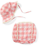 Ralph Lauren Girl Madras Hat & Diaper Cover Set