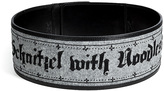 Olympia Le-Tan Wool-Leather Schnitzel and Noodles Belt in Grey/Black