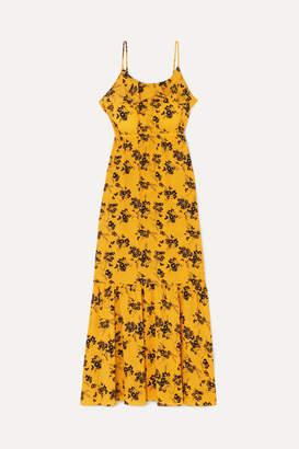 MICHAEL Michael Kors Ruffled Floral-print Crepe Midi Dress - Yellow