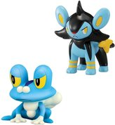 Pokemon 2 Pack Small Figures- Froakie vs Luxio