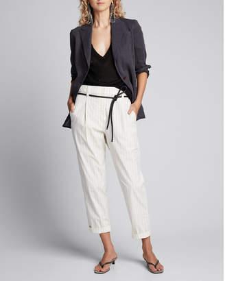 Brunello Cucinelli Linen-Silk Sequined Crewneck Sweater, Black