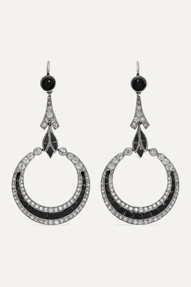 Fred Leighton 1920s Platinum, Diamond And Onyx Earrings - Gold