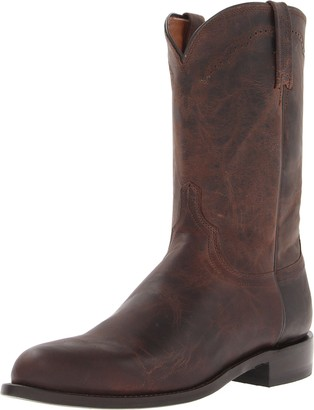 Lucchese Bootmaker Men's Shane-Chocolate Madras Goat Roper Riding Boot 10.5 D US