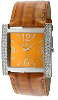 Peugeot Women'S Square Silver-Tone Crystal Bezel Leather Strap Watch 324MS