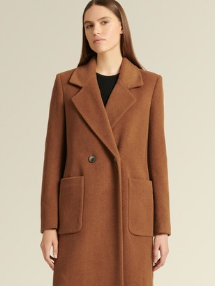 DKNY Chevron Wool Blend Coat