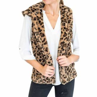 HOOUDO Womens Leopard Print Gilets Jacket Coat Artificial Wool Bomber Vest Winter Warm Casual Cardigan Overcoat Outwear Waistcoat (X-Large