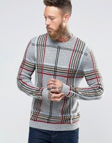 Asos Plaid Knit Sweater in Wool Mix