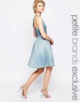 True Decadence Petite Full Prom Midi Skirt In Textured Scuba