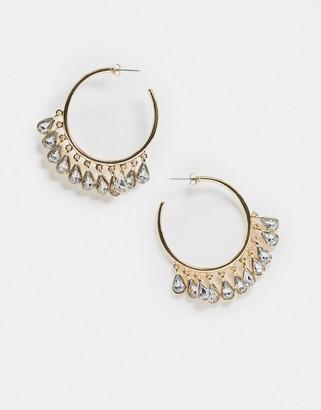 Vero Moda diamante drop hoop earrings in gold