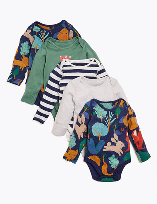 Marks and Spencer 5pk Organic Cotton Forest Print Bodysuits (6lbs-3 Yrs)