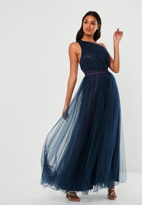 Missguided Navy Tulle One Shoulder Maxi Dress