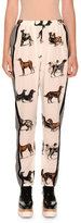 Stella McCartney Dog-Print Silk Track Pants, White