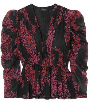 Giambattista Valli Gathered Floral-print Silk-georgette Blouse