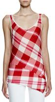 Stella McCartney Sleeveless Solid-Check Top, Lily/Chili Red/Pink