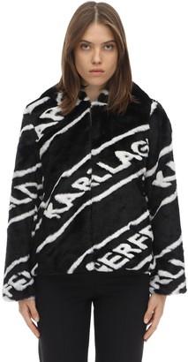Karl Lagerfeld Paris Logo Hooded Faux Fur Jacket