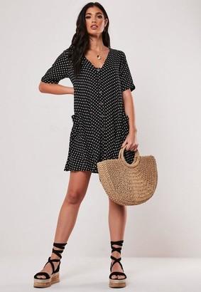 Missguided Black Polka Dot Smock Dress