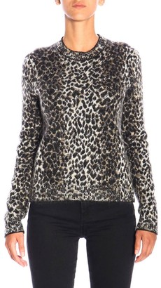 Saint Laurent Sweater In Animalier Mohair Wool