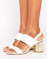 Miss Selfridge Metallic Hexagon Block Heeled Sandals