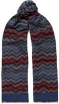 Missoni Crochet-knit Wool And Silk-blend Scarf - Blue