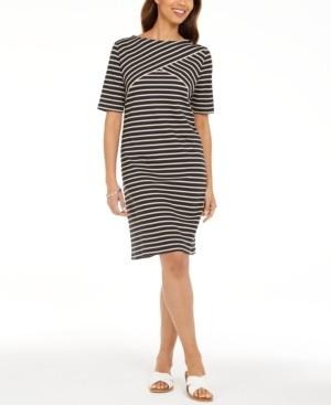 Karen Scott Petite Striped Shift Dress, Created for Macy's