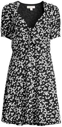 MICHAEL Michael Kors Petal-Print Tie-Front Mini Dress