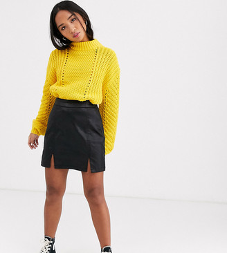 Asos DESIGN Petite denim coated mini skirt in black