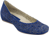 Earthies Royal Blue Cutout Bindi Leather Flat