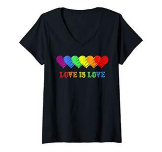Womens LGBT Pride Flag Rainbow Hearts Love Is Love LGBT Month Gift V-Neck T-Shirt