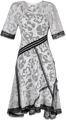 Koché Floral-Mesh Asymmetric Dress