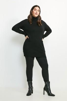 Karen Millen Curve Merino Wool Roll Neck Longline Jumper