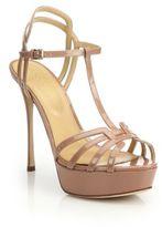 Sergio Rossi Ines Patent T-Strap Platform Sandals