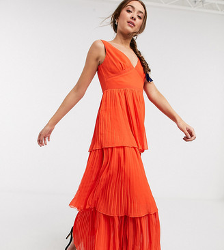 Little Mistress Petite tiered maxi dress in orange