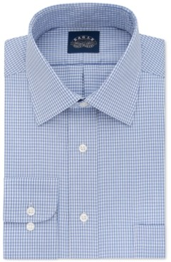 Eagle Big and Tall Non-Iron Stretch Collar Blue Check Dress Shirt