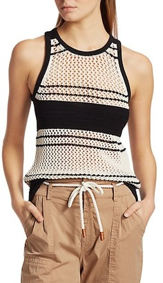 Frame Open Knit Striped Tank
